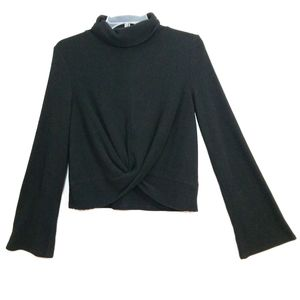 Almost Famous twist front bell sleeve ribbed top